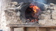 Outdoor oven in small Tajik settlement Stock Footage