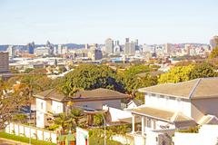 arial view of city of durban - stock photo