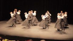Competition of Breton dancers on stage Stock Footage