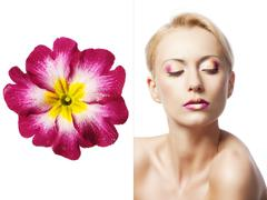 Stock Photo of the floral makeup, she is turned of three quarters