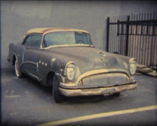 Super 8 USA junk car Buick 1954 Stock Footage