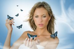 girl with butterfly - stock photo