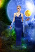 e.t. lady with golden planet - stock photo