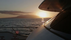 Sea view from deck of a ship at sunset 2 - stock footage