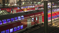 Colorful trains on the station Stock Footage