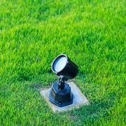 light on green grass in garden - stock photo
