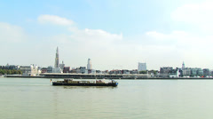 Antwerp, barge on the river Scheldt (Schelde), Antwerpen, Belgium Stock Footage