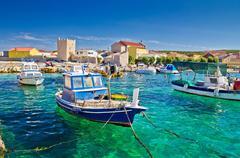adriatic town of razanac colorful waterfront - stock photo