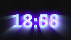 Blue digital countdown timer, glowing over dark background with godrays Stock Footage