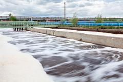 volumes for oxygen aeration in wastewater treatment plant. long exposure - stock photo