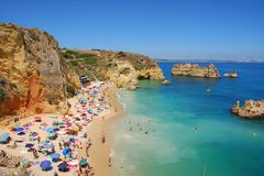 dona ana beach, algarve coast in portugal - stock photo