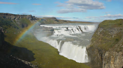 Big waterfall gullfoss Stock Footage