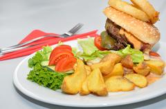 Hamburger on a plate with Annex Stock Photos