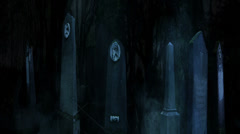 3D Halloween animation of fog and old tombstones in a dark creepy cemetery 2 Stock Footage