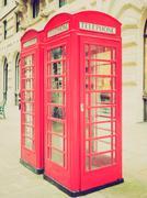 vintage look london telephone box - stock photo