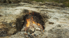 Natural gas flames on Mount Chimera, Olympos, Turkey Stock Footage