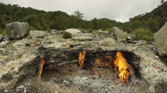 Natural gas flames on Mount Chimera, Olympos, Turkey - stock footage