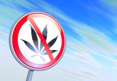 No drugs sign against the blue sky - stock illustration