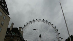 Capture full view of London Eye wheel from a distance,UK. (LONDON EYE 1a) Stock Footage