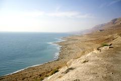 arid dead sea coastline israel - stock photo