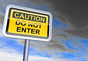 "Stock Illustration of ""Caution - do not enter"" sign against the cloudy sky"