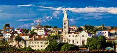 adriatic town of losinj church - mediterranean architecture - stock photo