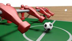 Foosball kickoff animation side Stock Footage