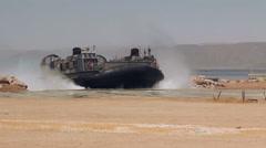 Hovercraft Landing Beach 01 Stock Footage