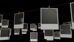Polaroid gallery isolated pan Stock Footage