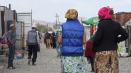 Stock Video Footage of Bazaar in rough little town in Tajikistan, marketplace in remote location