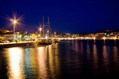 beautiful adriatic town of mali losinj evening - stock photo