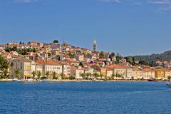 adriatic town of mali losinj, view from sea - stock photo