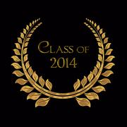 2014 graduation gold laurel - stock illustration