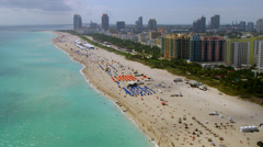 Miami Beach Aerial Southbound Stock Footage
