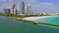 Miami Beach Aerial Northbound Stock Footage