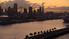Dusk Aerial Cruise and Downtown Miami Stock Footage