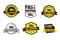 Yellow Free Shipping Badges - stock illustration