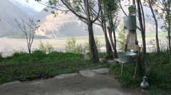 Outdoor sink in Wakhan Valley, saving water in third world country Stock Footage