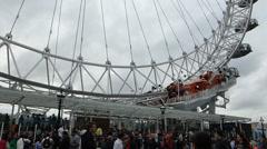Close up view of London Eye, base of structure, London, UK (London Eye 7b) Stock Footage