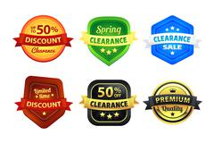 Colorful Clearance Discount Badges - stock illustration