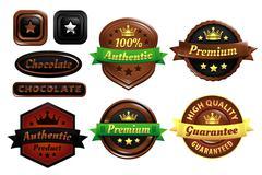 Chocolate Premium Authentic Badges Stock Illustration