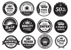 Twelve Scalable Vintage Badges - stock illustration