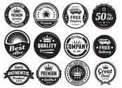Stock Illustration of Twelve Scalable Vintage Badges