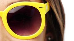 Fashion woman sunglasses face - stock footage