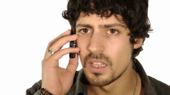 Handsome boy yelling at phone Stock Footage