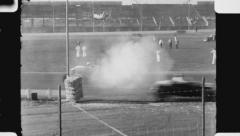 Hot Rod race with spinouts. (Vintage 1940's 16mm film footage). Stock Footage