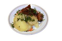 fried meat and bolied potatoes and dill over isolated - stock photo