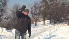 Man Looking and Smiling in Camera, Shivering Man Waving Goodbye, Winter, People Stock Footage