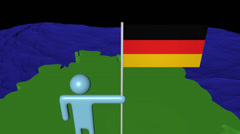 Man with flag on Germany map in ocean animation Stock Footage
