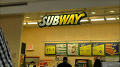 Subway restaurant menu counter food court - stock footage